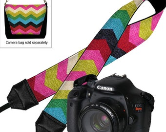 SALE Nikon Padded SLR Neck Strap Canon Dslr Camera Strap Colorful Chevron Desert Rose pink red blue green black MTO