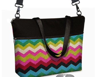 """17 inch Laptop Tote Bag Womens Briefcase Colorful Chevron Laptop Crossbody  Bag 15.6""""  pockets zipper pink red blue green black MTO"""