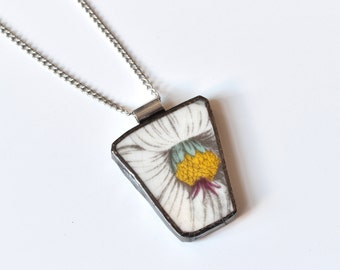 Broken China Jewelry Pendant - Portmeirion China - White and Yellow Flower