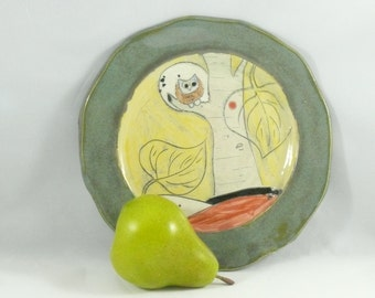 Green Ceramic Plate, Pottery platter, thanksgiving lunch plate, snack dish, appetizer dish, kitchen dinnerware, serving dish 233