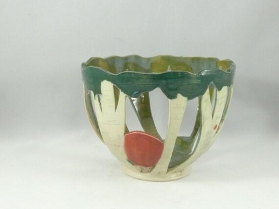Aspen Tree Art, Votive Candle Holder, Decorative Ceramic Bowl, Art Vase, Art Vessel, Ceramics and Pottery, 9th anniversary wedding gift