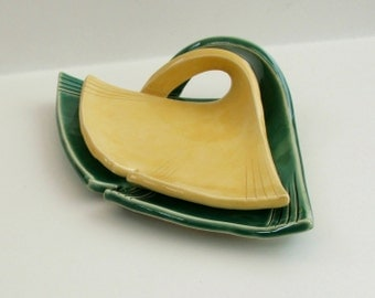 Ceramic Ginkgo Leaf Plates, Hand Built, Nested, Yellow and Green
