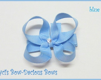 Blue Itty Bitty Baby Bow - no slip baby hair bow - blue baby bow