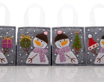 Ornament Set, 4 Felt Christmas Ornaments, Hand Embroidered Snowmen, Advent Calendar Gifts, Christmas Presents, Family Christmas Gifts