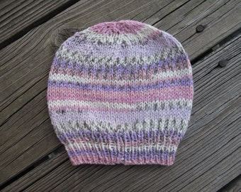 Self-Striping Soft Acrylic Hand-Knitted Baby Hat (newborn to three months) OOAK
