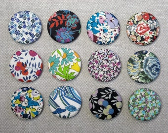 Fabric Button Magnets - Set of 12 - Liberty of London Tana Lawn 3