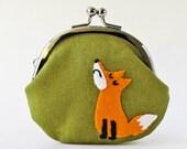 Coin purse - Mr. Snooty Fox fox purse kiss lock coin purse orange moss green linen animal children kids frame purse coin pouch change purse