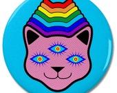 "Rainbow 3 Eyed Alien Cat Head 2.25"" Pinback Pin Button Badge"