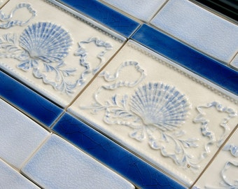 Azure Blue Shell and Ribbon tiled backsplash for Beach house or Tiny House