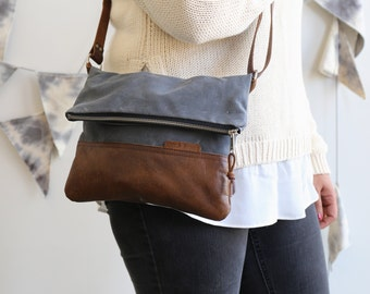 Waxed Canvas and Leather Foldover Crossbody Bag Slate / Handmade Leather and Canvas Purse / Foldover Bag with Strap