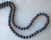 Metallic Titanium Blue Green Gold Purple Peacock Druzy Crystal Agate 6mm Round Beads Half Strand