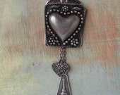Love From Paris, repurposed vintage, assemblage, heart, eiffel tower, paris necklace, french, long chain, bohemian, boho, tunic necklace