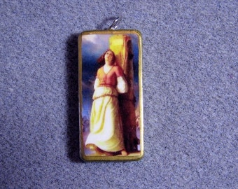 St. Joan of Arc Catholic Recycled Domino Pendant Patron Soldiers Rape Victims JA8
