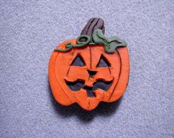Halloween Carved Pumpkin Jack O'Lantern Polymer Clay Brooch Pin Prim Handmade 1