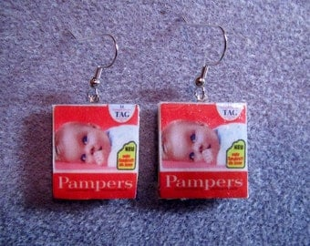 Pampers Girls Pink Diaper Box Retro Kitsch Dangle Polymer Clay Junk Food Earrings Hypo Allergenic Nickle-Free