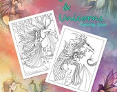 Fairies Dragons and Unicorns Coloring Book Vol 1 - 12 Loose Leaf Adult Coloring Pages on Heavy Paper - Illustated by Molly Harrison