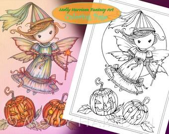 Little Halloween Fairy Princess - Digital Stamp - Printable - Molly Harrison Fantasy Art - Digi Stamp / Coloring Page - Instant Download