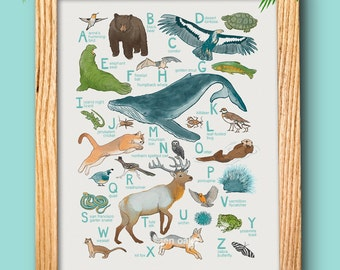 "ABC Animal Print - 10x13 print - baby kids nursery art, California whale fox quail ""California Animals"""