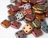 "CzechMates Beads QuadraTile Bead 6mm - Matte Metallic Bronze Iris 2.5"" Tube"