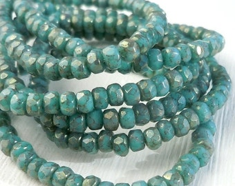 25% OFF Summer Sale Czech Glass Beads 2x3mm Faceted Rondelle Turquoise Bronze Picasso (G - 194)