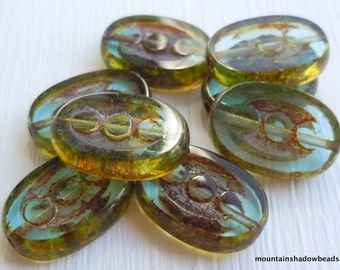 Czech Glass Beads Chunky Oval - Aqua Picasso  - Picasso Czech Beads 8 pcs (G - 654)