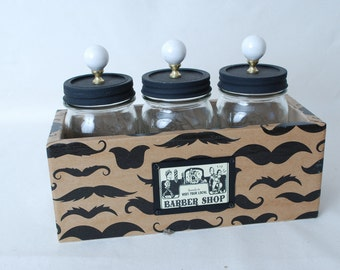Mason Jar Storage Box Barber Shop Motif And Mustaches with 3 Pint Jars