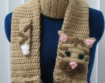 Crochet Tabby Cat Scarf Made to Oder