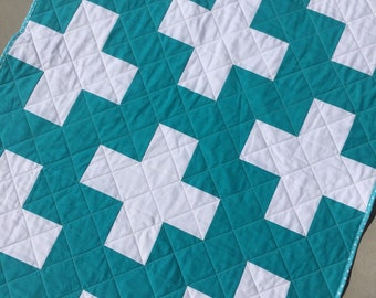 SALE Teal and white plus baby quilt