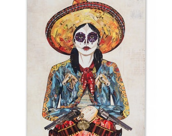 Sugar Skull Cowgirl Print on Wood