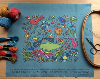 into the wild stitch sampler -blue- to personalize and color with thread