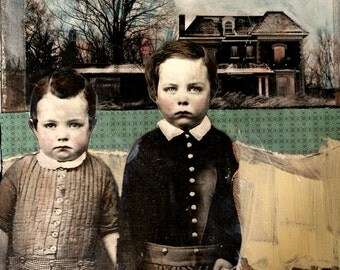 original mixed media painting vintage boys with house