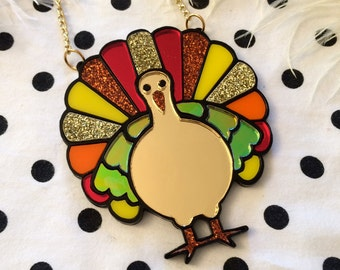 Thanksgiving Turkey Laser Cut Acrylic Necklace