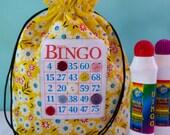 Bingo Bag - Drawstring Bag - Knitting Project Bag - Reusable Lunch Bag - Bingo Gift - Bingo Dauber Bag - Organizer - Makeup Bag