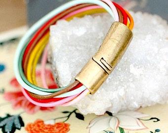Colorful Leather Bracelet, Magnetic clasp Bracelet, leather cuff bracelet