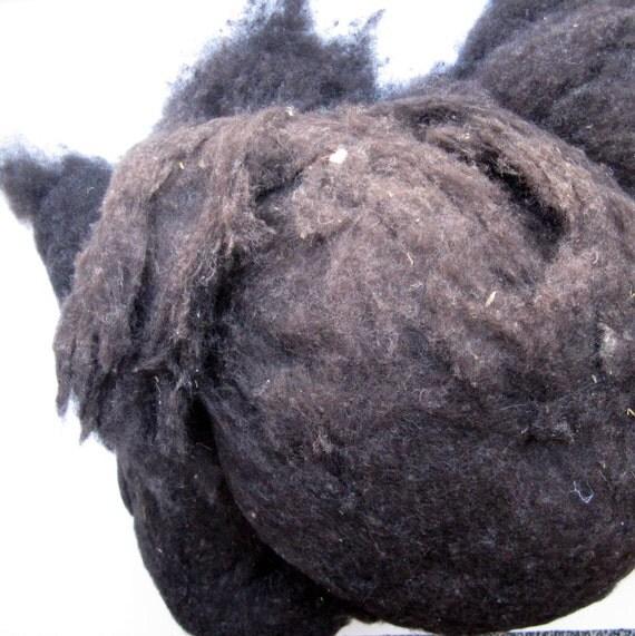 Merino Sheep Wool - Waste and Noils - for Felting, Filling, Stuffing, Batt Making - Natural Black - 10 ounces