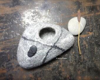 Grey Felt Pebble Pot with Black & Silk embellishment Pebble Decoration