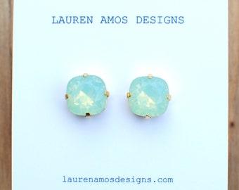 Light Green Post Earrings - medium size. Bridesmaids Earrings.
