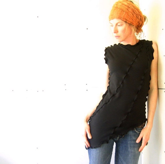 ASYMMETRICAL TOP women| clothing| tank tops| shirts| tops| handmade| custom| treehouse28| black shirt| yoga shirt| maternity tops