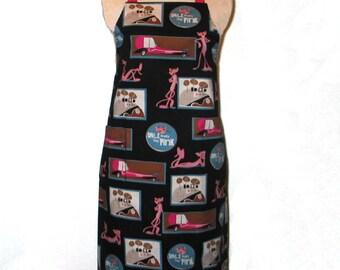 Ladies Pink Panther Apron  Adjustable Neck