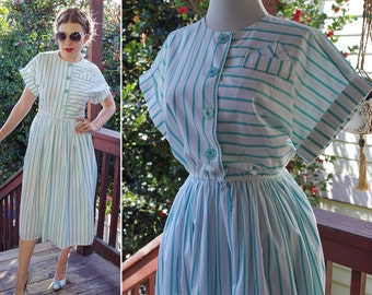 BREEZE 1980's does 50's Vintage Bright White + Teal Striped Cotton Dress with Cinched Waist // by LESLIE Fay // size Small Medium