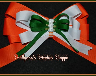 Orange White & Green LARGE Boutique Hair Bow with Satin Rose Center on Alligator Barrette Clip