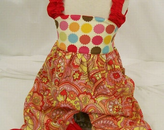 Baby Girls Rompers, Paisley  with Red, SIZE 3/6M 6/9M 12/18M  Handmade in the USA,  #101
