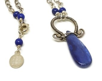Kyanite Wire Wrap Pendant, Talisman Collection, Gemstone Necklace, Teardrop, Lapis Lazuli Beads, Sterling Silver, Adjustable, Oxidized Chain