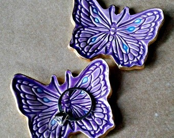 Ceramic set TWO TINY Butterfly Ring Dishes Purple edged in gold