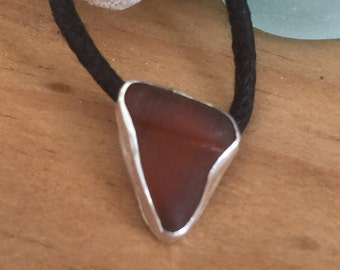 Seaglass Sharks Tooth Brown Chesapeake Pendant Necklace