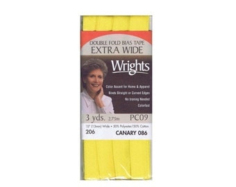 Canary Yellow Double Fold Wrights Bias Tape Polyester Cotton 3 Yards