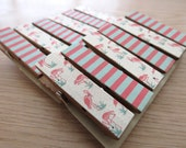 Retro Pink Flamingos and Turquoise Stripes Clips w Twine for Photo Display - Chunky Little Clothespin Set of 12
