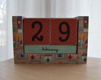 Handmade Perpetual Wooden Block Calendar - Lovely Neighborhood