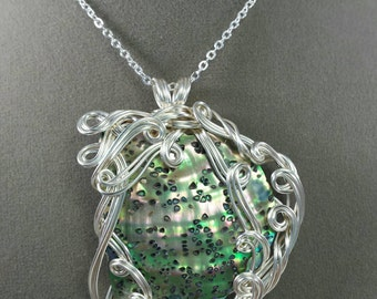 Swimming with Whales Paua Shell  Pendant