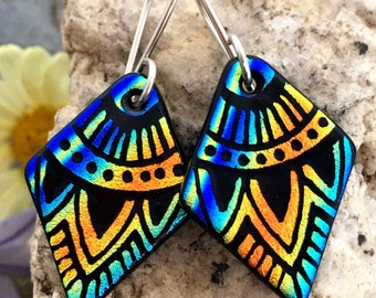 SMALL Mandala Hand Etched Dichroic Earrings Fused Glass & Sterling Silver Handmade Wires Orange Blue Rainbow